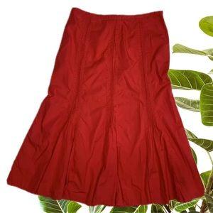 Rodney Clark red a-line flare cotton skirt size 8